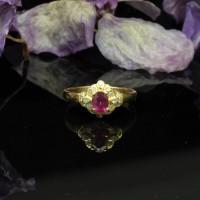圖示-紅寶鑽石黃K金戒指 (Ruby Ring)