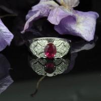 圖示-紅寶鑽石白K金戒指(Ruby Ring)