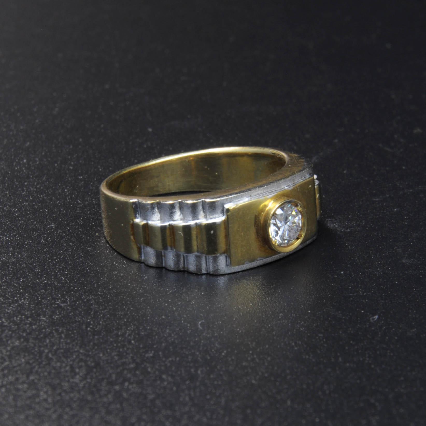 鑽石經典黃白K金戒指(Diamond Ring)