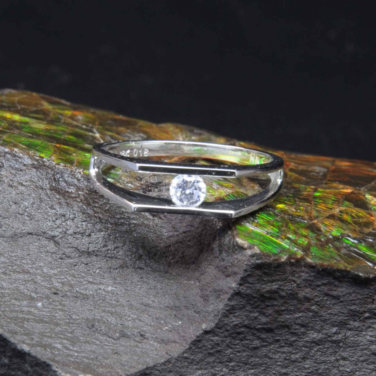 白K金鑽石戒指   DiaR12