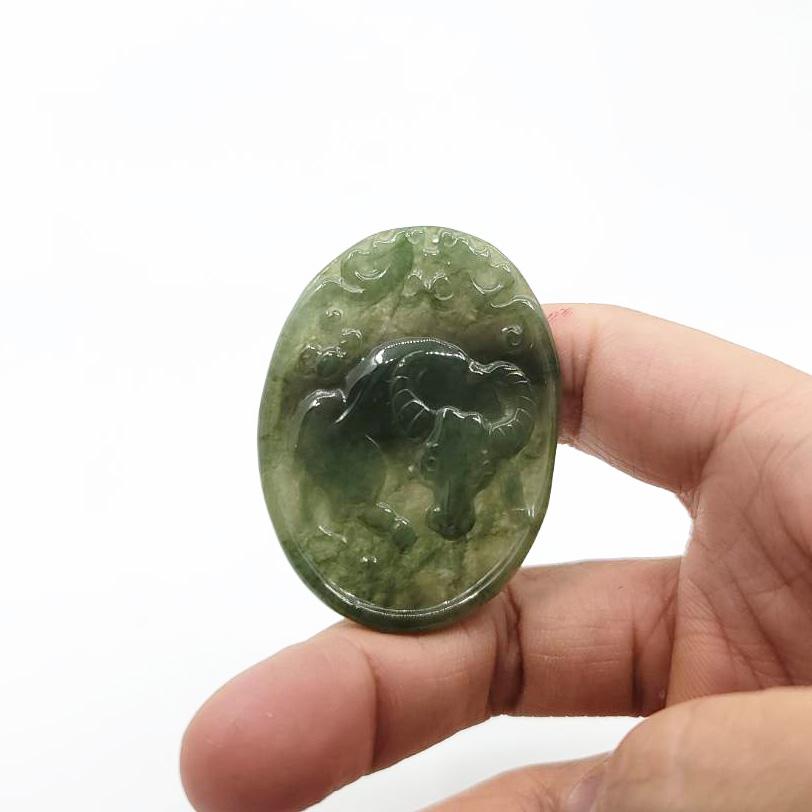 圖示-翡翠/牛轉錢坤玻冰種吊墜(Jadeite Pendant)