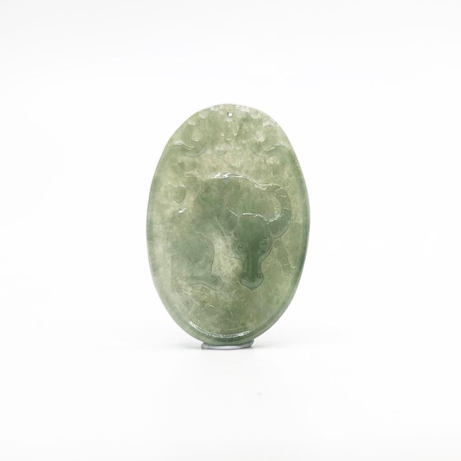 圖示-翡翠/玻冰種勤勞致富吊墜(Jadeite Pendant)