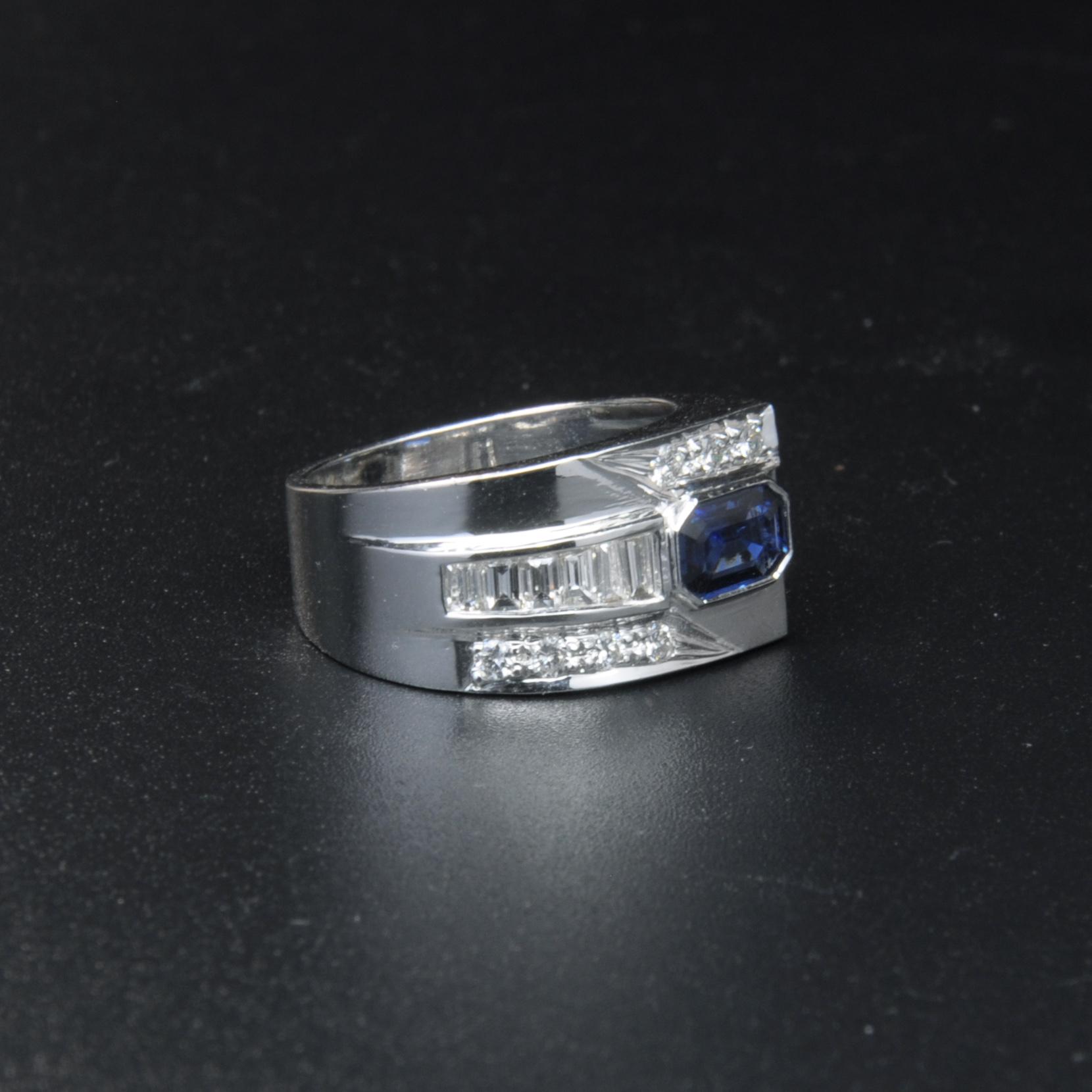 圖示-藍寶鑽石白K金戒指(Sapphire Ring)